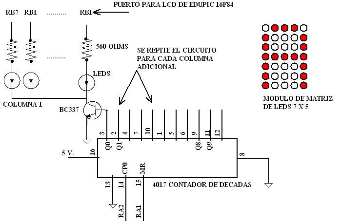 Multiplexaje En El Tiempo Teoria Del Funcionamiento De La Matriz De Leds Patron De Codigos De Texto Caracteres Numeros Letras Control De Una Matriz De Leds 7x5 Sistema Eb88 Matriz De Leds
