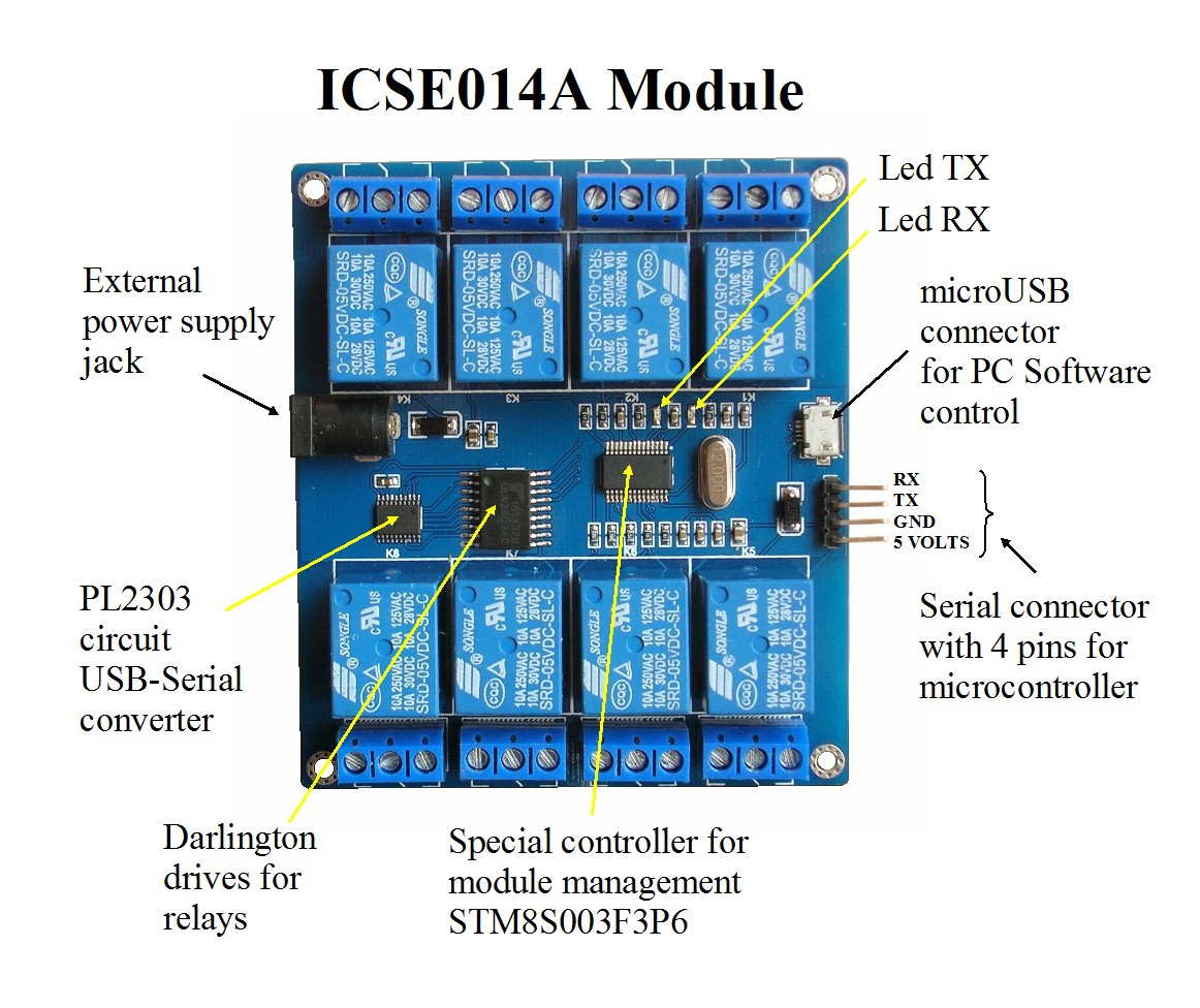 Icse014 Module 8 Relays Asynchronous Serial Port Microcontroller Connecting The Time Delay Circuit To A Relay Figure 1 Icse 014a Is Versatile And Sophisticated For Remote Control Of Among Its Facilities Ability Connect Via