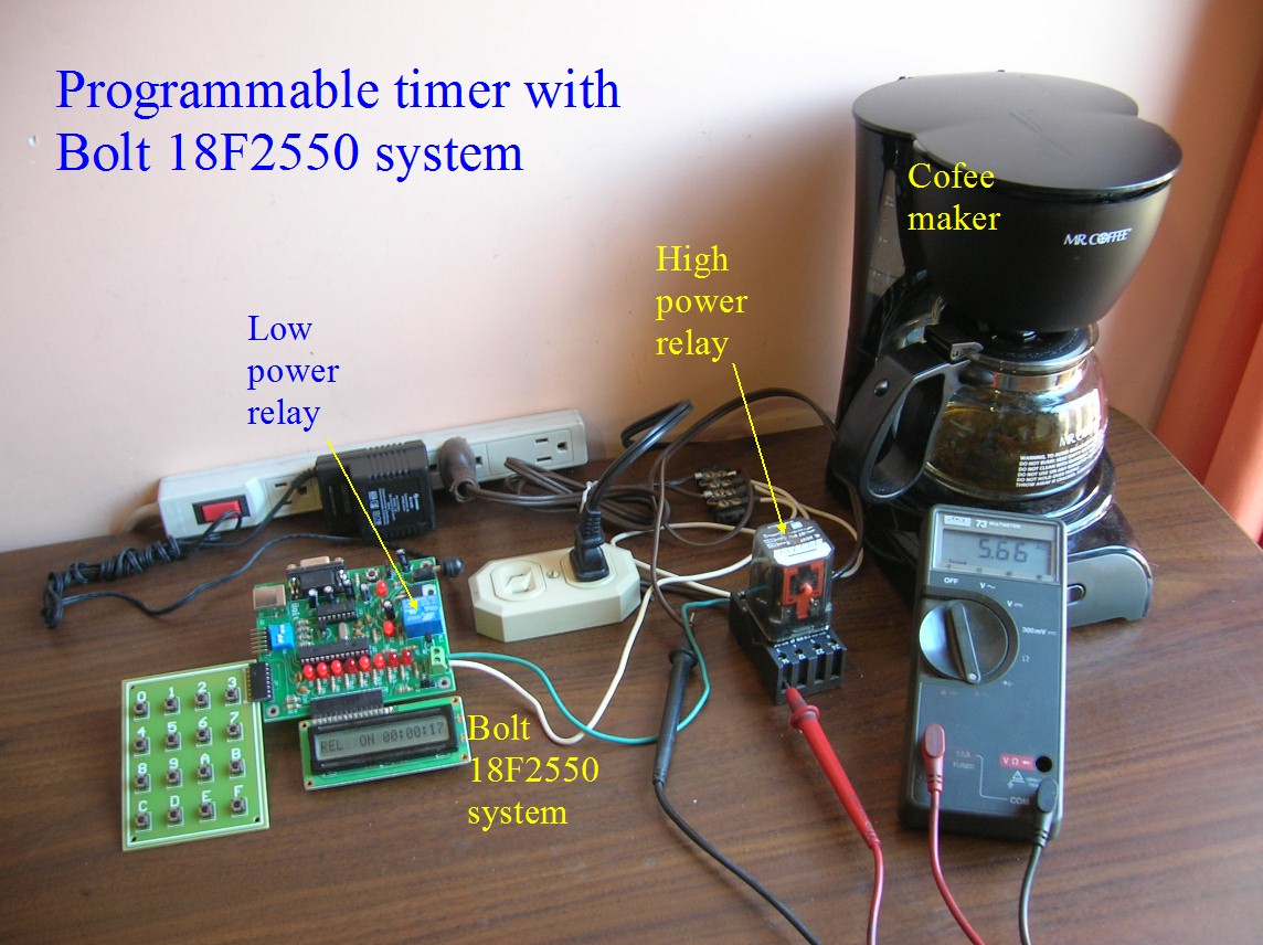 Programmable Timer High Power Loads Microcontroller Bolt 18f2550 Circuit Figure 1 Connections Of Devices For Testing